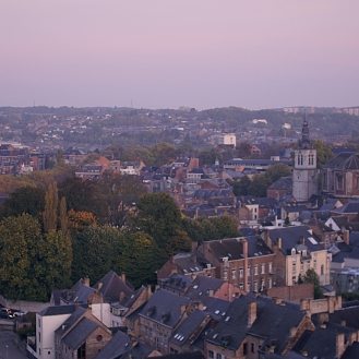 Namur sunrise cityscape steepl